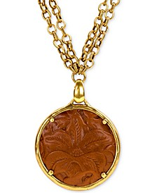 "Leather-Inset Double-Chain 28"" Pendant Necklace"
