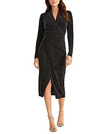 Bret Metallic-Knit Draped Dress