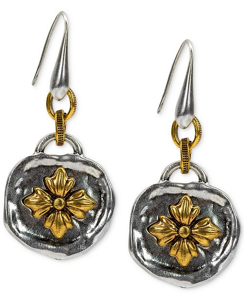 """Patricia Nash Two-Tone """"Enjoy The Moments"""" Floral Drop Earrings"""