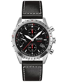 Men's Chronograph Aero Black Leather Strap Watch 44mm