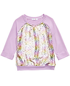Beautees Big Girls Flip Rainbow Sequin Top