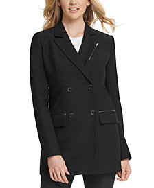 DKNY Faux-Leather-Trim Blazer