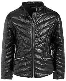 Big Girls Cheetah-Print Faux Leather Jacket