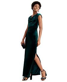 Velvet Cutout-Back Gown