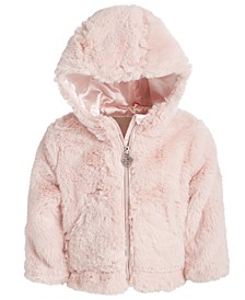 Baby Girls Hooded Faux-Fur Jacket
