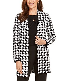 Houndstooth-Print Open-Front Topper Jacket