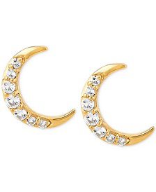 White Topaz Crescent Moon Stud Earrings (1/2 ct. t.w.) in 14k Gold