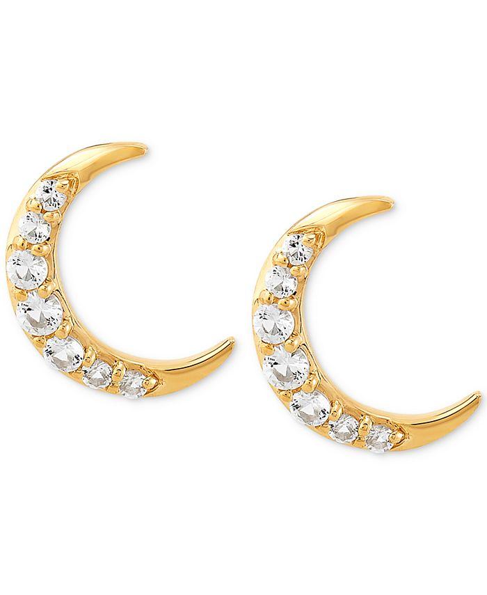 Macy's - White Topaz Crescent Moon Stud Earrings (1/2 ct. t.w.) in 14k Gold