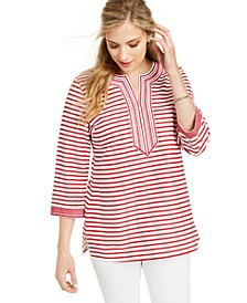 Embroidered Striped Linen-Blend Tunic, Created For Macy's