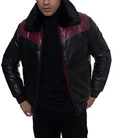 Men's Colorblocked Chevron Quilted Faux-Leather Bomber Jacket with Faux-Fur Trim, Created For Macy's