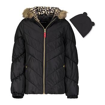 Weathertamer Big Girls Hooded Puffer Jacket With Faux-Fur Trim & Hat