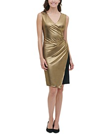 Metallic Jersey Wrap Dress