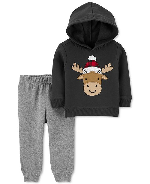 Carter's Baby Boys 2-Pc. Moose Hoodie & Jogger Pants Set