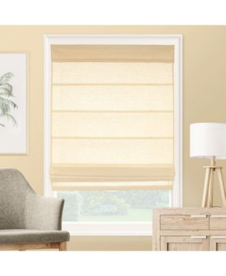 "Cordless Roman Shades, Rustic Cotton Cascade Window Blind, 24"" W x 64"" H"