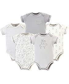 Baby Boy and Girl Organic Cotton Bodysuits, 5 Pack