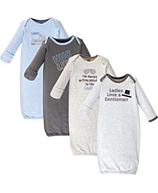 Baby Boy and Girl Cotton Gowns, 4 Pack