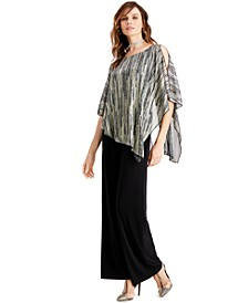 Metallic Cape Overlay Jumpsuit, Created for Macy's