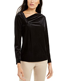 Asymmetrical-Neckline Velvet Top, Created for Macy's