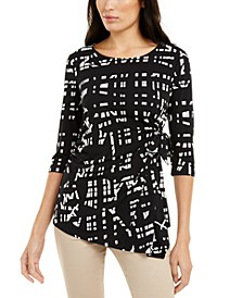 Printed Side-Tie Asymmetrical-Hem Top, Created for Macy's