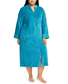Plus Size Jacquard Cuddle Fleece Long Zipper Robe