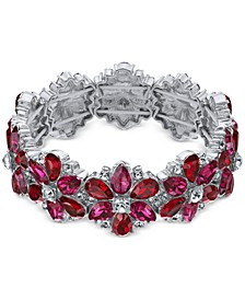 Silver-Tone Red & Pink Crystal Stretch Bracelet, Created For Macy's