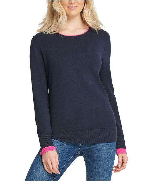 DKNY Contrast-Trim Ribbed-Edge Sweatshirt