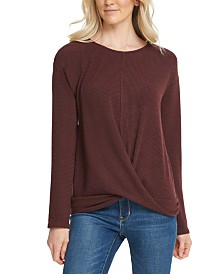 DKNY Ribbed Twist-Hem Top