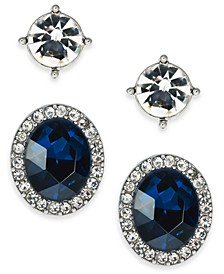 2-Pc. Set Crystal & Stone Stud Earrings, Created for Macy's