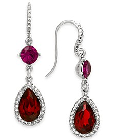 Silver-Tone Red Crystal Double Drop Earrings, Created For Macy's
