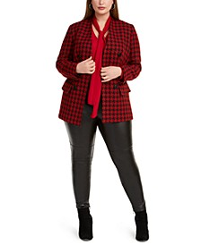 Trendy Plus Size Houndstooth Blazer, Tie-Neck Top & Mixed-Media Leggings, Created For Macy's