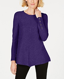 Petite Ribbed Snap-Detail Sweater, Created for Macy's