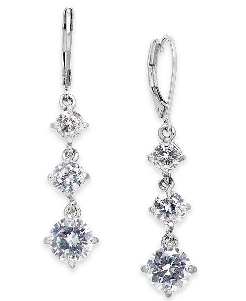 INC International Concepts INC Silver-Tone Crystal Triple Drop Earrings, Created For Macy's