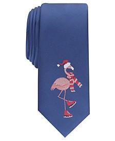 Men's Iceskating Flamingo Skinny Holiday Tie, Created For Macy's