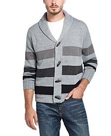 Men's Stripe Toggle Shawl Collar Sweater