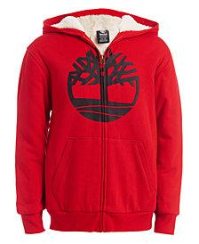 Timberland Big Boys Tree Cherry Red Fleece-Lined Logo Hoodie