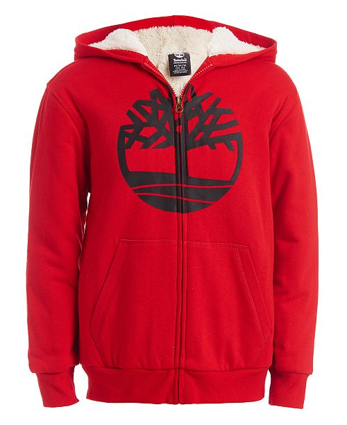 Timberland Big Boys Tree Cherry Red Fleece-Lined Logo Hoodie