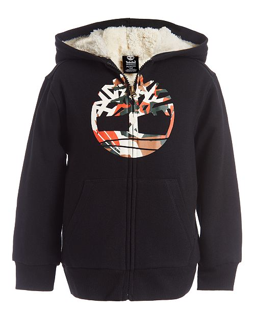 Timberland Big Boys Camo Tree Black Fleece-Lined Logo Hoodie