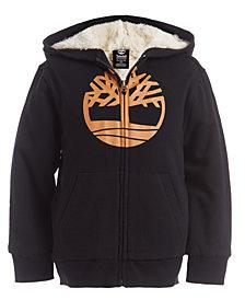 Timberland Big Boys Tree Black Fleece-Lined Logo Hoodie