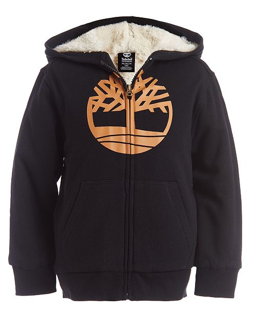 Timberland Big Boys Tree Black Fleece-Lined Logo Hoodie