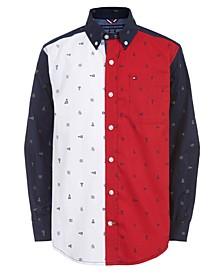 Big Boys Norris Colorblocked Logo-Print Poplin Shirt