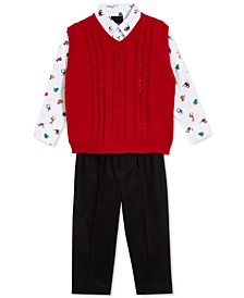 Baby Boys 3-Pc. Cable-Knit Sweater Vest, Printed Shirt & Pants Set