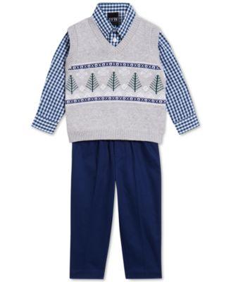 Baby Boys 3-Pc. Fair Isle Tree Sweater Vest, Gingham Shirt & Pants Set