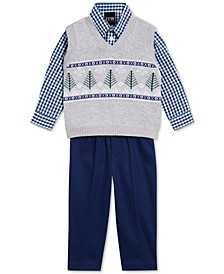 Baby Boys 3-Pc. Fair Isle Tree Sweater Vest, Gingham Shirt & Pants Set
