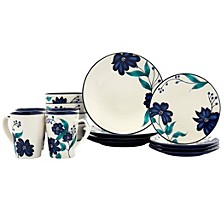Tabletop Unlimited Forget Me Not Round Coupe 16pc Dinnerware Set
