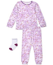 Baby Girls 3-Pc. Unicorn-Print Pajamas & Socks Set, Created For Macy's