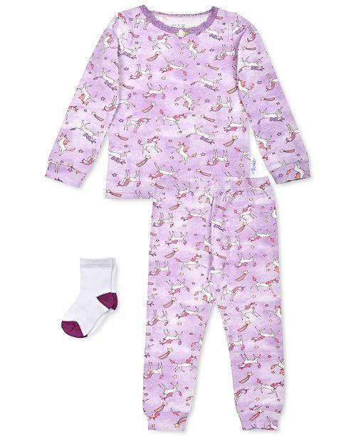 Max & Olivia Baby Girls 3-Pc. Unicorn-Print Pajamas & Socks Set, Created For Macy's