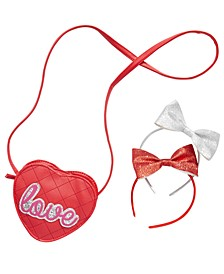 Little & Big Girls 3-Pc. Headbands & Love Bag Set