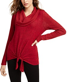 Juniors' Textured Tie-Front Cowlneck Sweater