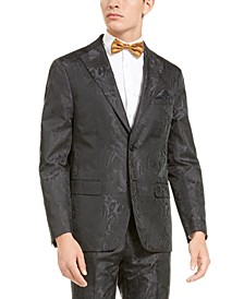 Men's Charcoal Tonal Animal Print Dinner Jacket
