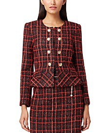 Petite Plaid Double-Breasted Peplum Blazer